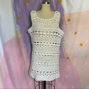 VINTAGE Handmade Crochet Knit White Mini Dress